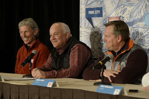 Franciso Kjolseth  |  The Salt Lake Tribune Ski Utah and the general managers of the seven Wasatch Front including Onno Wieringa-Alta, Randy Doyle-Brighton and Mike Goar-Canyons hold a news conference in downtown Salt Lake City on Wed. March 19, 2014, to talk about their plans to pursue an interconnect involving the building of lifts on private lands linking the ski areas in a concept called ONE Wasatch.