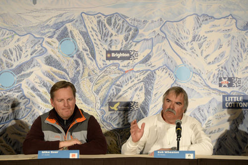 Franciso Kjolseth  |  The Salt Lake Tribune Ski Utah and the general managers of the seven Wasatch Front ski resorts including Mike Goar of the Canyons and Bob Wheaton of Deer Valley hold a news conference in downtown Salt Lake City on Wed. March 19, 2014, to talk about their plans to pursue an interconnect involving the building of lifts on private lands linking the ski areas in concept called ONE Wasatch.