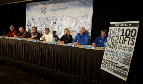 Franciso Kjolseth  |  The Salt Lake Tribune Ski Utah and the general managers of the seven Wasatch Front ski resorts hold a news conference in downtown Salt Lake City on Wed. March 19, 2014, to talk about their plans to pursue an interconnect involving the building of lifts on private lands linking the ski areas. From left are Onno Wieringa-Alta, Randy Doyle-Brighton, Mike Goar-Canyons, Bob Wheaton-Deer Valley, Jenni Smith-Park City, Bob Bonar-Snowbird and Henri Hornberger-Solitude.