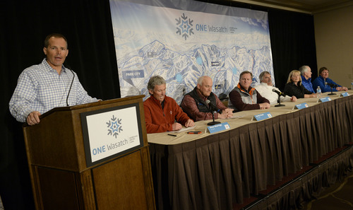 Franciso Kjolseth  |  The Salt Lake Tribune Nathan Raferty, President and CEO of Ski Utah introduces the general managers of the seven Wasatch Front ski resorts during a news conference in downtown Salt Lake City on Wed. March 19, 2014, to talk about their plans to pursue an interconnect involving the building of lifts on private lands linking the ski areas, a condept called ONE Wasatch. From left are Onno Wieringa-Alta, Randy Doyle-Brighton, Mike Goar-Canyons, Bob Wheaton-Deer Valley, Jenni Smith-Park City, Bob Bonar-Snowbird and Henri Hornberger-Solitude.