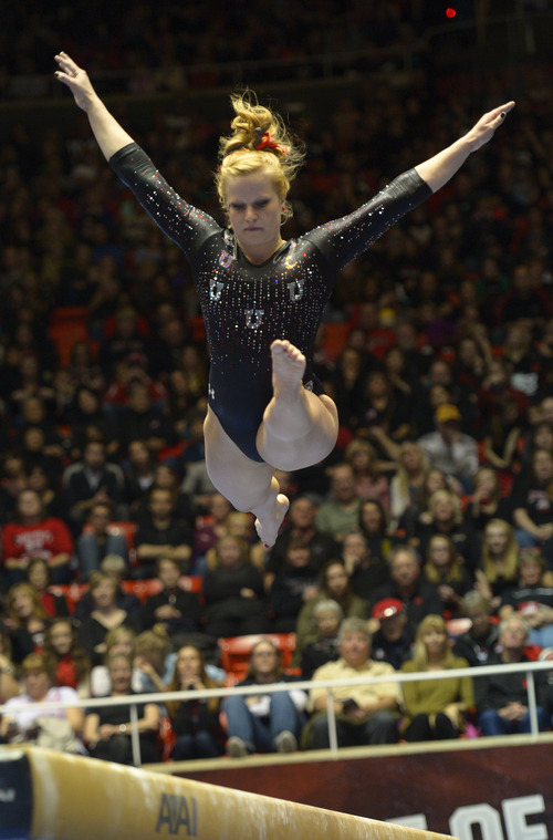 Rick Egan  | The Salt Lake Tribune   Tory Wilson competes on the beam for the Utes, in Pac12 gymnastics competition, Utah vs. UCLA, at the Huntsman Center, Saturday, January 25, 2014.