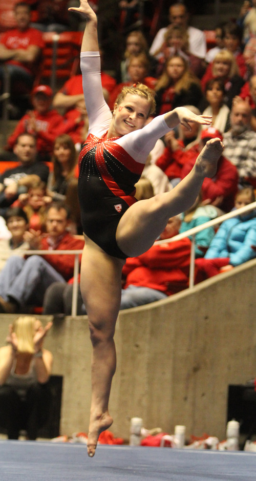 Rick Egan  | The Salt Lake Tribune   Tory Wilsoncompetes on the floor for the Ute's, in gymnastics action against The University of California, at the Huntsman Center, Saturday, February 9, 2013.