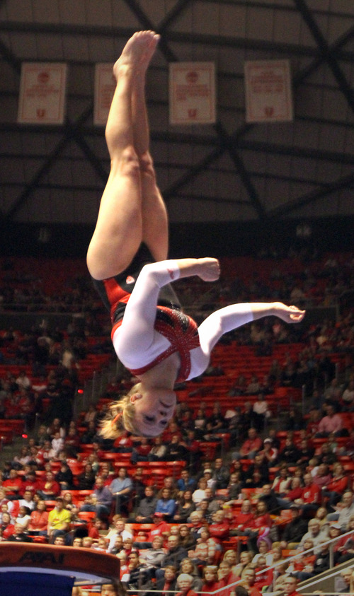 Rick Egan  | The Salt Lake Tribune   Tory Wilson competes on the vault for the Ute's, in gymnastics action against The University of California, at the Huntsman Center, Saturday, February 9, 2013.
