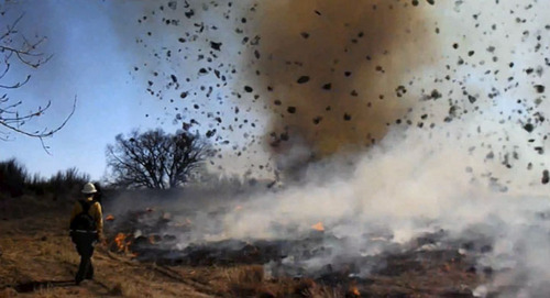 A Colorado fire fighter shot video of a huge dust devil during a prescribed burn on March 14.  Courtesy photo