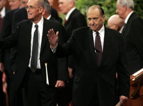 Jim Urquhart  |  Tribune file photo LDS Church President Thomas Monson waves to the audience after speaking during the closing session of the LDS General Conference Sunday, October 5, 2008 in Salt Lake City.
