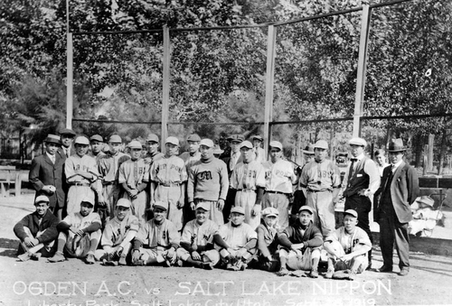 The Salt Lake Nippon baseball team at Liberty Park in 1919 prior to their game agains the Ogden A.C.