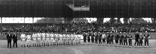The Salt Lake and Boise baseball teams posing for a panoramic photo on the ball field prior to their game in 1935.
