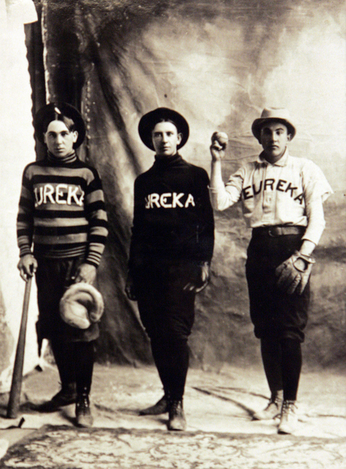 Baseball players from the Tintic mining camp in Eureka, Utah, circa 1890.
