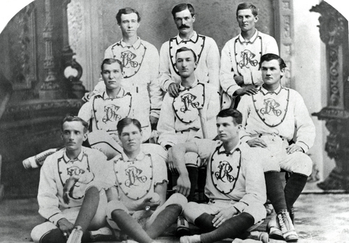 Salt Lake Red Stockings championship team in 1878.  (l to r) Standing: David C. Dunbar, shortstop; Richard P. Morris, 1B; Alex Watson, RF. Middle row: Olley Bess, LF; Heber J. Grant, 2B; Gronway Parry, CF. Sitting: Will George, 3B; Allie Barker, P; Joe Barlow, C.