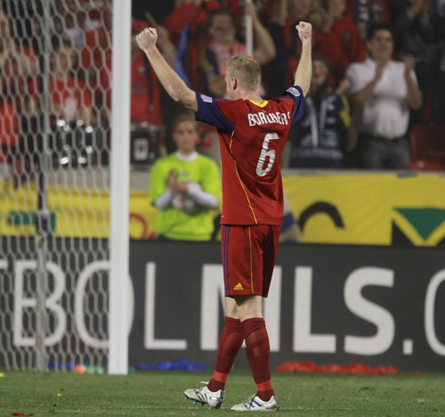 Rick Egan   |  The Salt Lake Tribune  Nat Borchers,  Real Salt Lake,  celebrate their 2-0 win over Dallas, in MLS soccer action, Real Salt Lake vs FC Dallas, at Rio TInto Stadium,  Saturday, October 16, 2010.