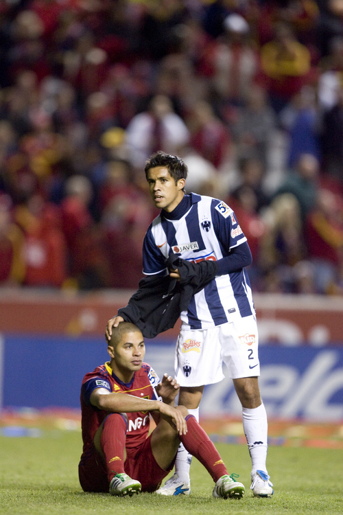 Djamila Grossman  |  The Salt Lake Tribune  Monterrey's severo Meza consoles RSL's Alvaro Saborio after beating Real Salt Lake in the CONCACAF final Wednesday, April 27, 2011