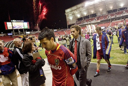Djamila Grossman  |  The Salt Lake Tribune  Real Salt Lake's Javier Morales (11) and his team walk off the field after they lost against Monterrey in the CONCACAF Champions League final in Sandy, Utah, on Wednesday, April 27, 2011.