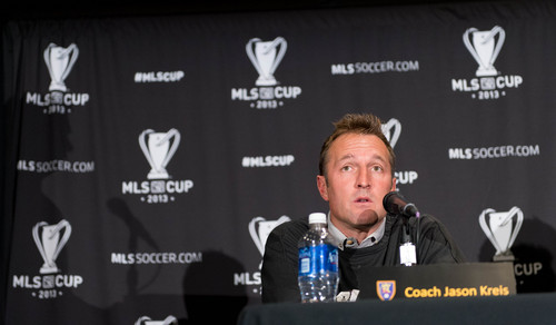 Trent Nelson  |  The Salt Lake Tribune Real Salt Lake head coach Jason Kreis speaks about the upcoming MLS Cup game during a press conference in Kansas City, Thursday December 5, 2013.
