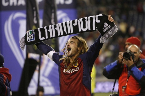 Trent Nelson  |  The Salt Lake Tribune  Real Salt Lake midfielder Kyle Beckerman (5) celebrates the team's victory. RSL won the MLS Cup 5-4 during the penalty round.