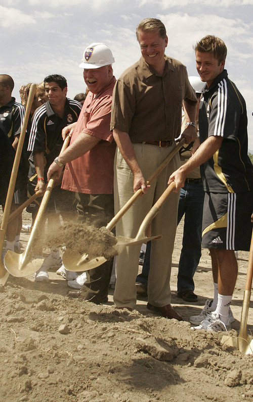 Tribune file photo  Sandy mayor Tom Dolan, left, Real Salt Lake owner Dave Checketts and Real Madrid's David Beckham break ground on what would become Rio Tinto Stadium in Sandy on Saturday, August 12, 2006.