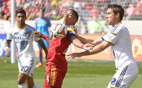 Leah Hogsten  |  The Salt Lake Tribune Real Salt Lake forward Joao Plata (8) grabs a pass. Real Salt Lake and the L.A. Galaxy are 1-1 at the half during Saturdayís, March 22, 2014 home opener at Rio Tinto Stadium.