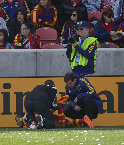 Leah Hogsten  |  The Salt Lake Tribune Real Salt Lake forward Joao Plata (8) gets his left hamstring stretched by club trainers.  Plata's injury forced him off in the 34th minute with a left hamstring strain, described as moderate.