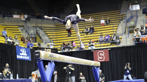 Courtesy Patrick Chong  |  PAC-12 Conference Kailah Delaney competes on the beam in the PAC-12 Gymnastics Championship in Berkeley, Cal., Saturday, March 22, 2014.