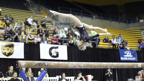 Courtesy Patrick Chong  |  PAC-12 Conference Mary Beth Lofgren competes on the beam in the PAC-12 Gymnastics Championship in Berkeley, Cal., Saturday, March 22, 2014.