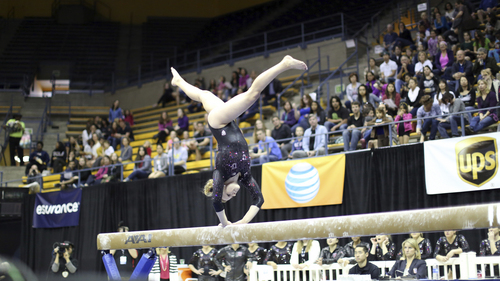 Courtesy Patrick Chong  |  PAC-12 Conference Tory Wilson competes on the beam in the PAC-12 Gymnastics Championship in Berkeley, Cal., Saturday, March 22, 2014.
