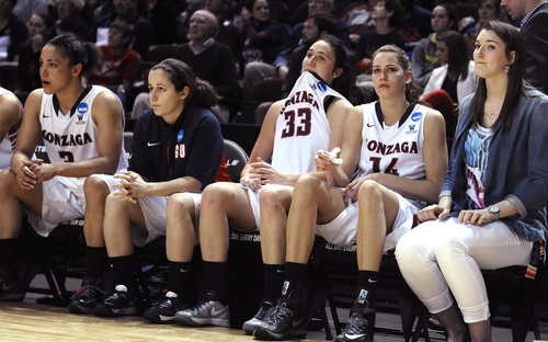 Gonzaga players look on in the final second against against James Madison in the second half of a first-round NCAA women's basketball game Sunday, March 23, 2014, in College Station, Texas. James Madison won 72-63. (AP Photo/Pat Sullivan)