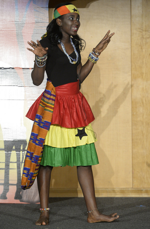 Rick Egan  | The Salt Lake Tribune    Priscilla Dansowaa Darkw, Miss Ghana,  performs her talent, in the Miss Africa Utah Pageant, at the University of Utah Union Ballroom, Saturday, March 8, 2014. one of nine women competing for the title of Miss Africa Utah, sponsored by the African Chamber of Commerce Utah in collaboration with the African Student Union of the University of Utah, the pageant is in its fourth year.