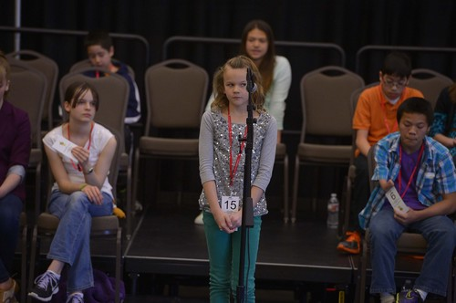 Leah Hogsten  |  The Salt Lake Tribune Ashlee Briggs' concentration shows on her face while trying to spell the word albatross, but she spelled it incorrectly. The Salt Lake County Spelling Bee at the Viridian Event Center in West Jordan. The winner will travel to Washington, D.C., to compete in the 2014 Scripps National Spelling Bee in May.