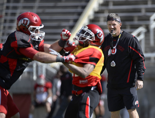 Scott Sommerdorf   |  The Salt Lake Tribune Utah head coach Kyle Whittingham watches as players work on kick coverage during Utah football practice at Rice Eccles Stadium, Saturday, March 22, 2014.