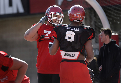 Scott Sommerdorf   |  The Salt Lake Tribune Utah OL Jeremiah Poutasi talks with Nate Orchard between plays during Utah football practice at Rice Eccles Stadium, Saturday, March 22, 2014.