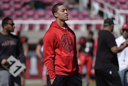 Scott Sommerdorf   |  The Salt Lake Tribune Utah QB Kendal Thompson, a transfer from Oklahoma, watches during Utah football practice at Rice Eccles Stadium, Saturday, March 22, 2014.