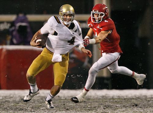 Scott Sommerdorf     The Salt Lake Tribune              Utah linebacker Brian Blechen chases and sacks UCLA quarterback Kevin Prince during a game in 2011.