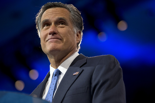 "FILE - In this March 15, 2013 file photo, former Massachusetts Gov., and 2012 Republican presidential candidate, Mitt Romney pauses while speaking at the 40th annual Conservative Political Action Conference in National Harbor, Md.   Romney says President Barack Obama could have done more to dissuade Russia from annexing Crimea. Romney said Obama didn't have the foresight to anticipate Russia's intentions.  He told CBS's ""Face the Nation"" on Sunday, March 23, 2014, that Obama's ""naivete"" and ""faulty judgment"" about Russia has led to a number of foreign policy challenges. He said the U.S. should now welcome nations that seek entry into NATO, should forgo cuts to the nation's military budget and reconsider putting a missile defense system into the Czech Republic and Poland, as once planned.(AP Photo/Jacquelyn Martin)"