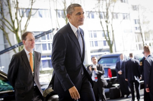 U.S. President Barack Obama arrives on the first day of the two-day Nuclear Security Summit (NSS) in The Hague, Netherlands, Monday, March 24, 2014. (AP Photo/Evert-Jan Daniels, POOL)