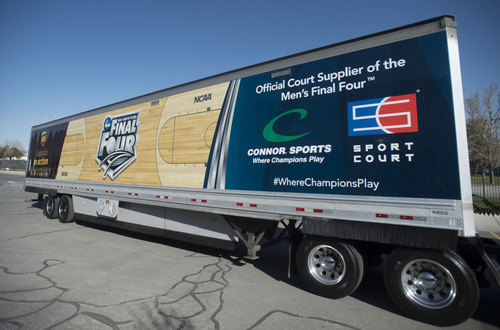 Steve Griffin  |  The Salt Lake Tribune   A truck loaded with this year's Final Four basketball court prepares to leave Connor Sport Court International in Salt Lake City Monday, March 24, 2014. The court is made by Connor Sport Court International and will be installed in AT&T Stadium in Dallas for the April 5th start of the Final Four.
