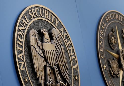 FILE - This June 6, 2013, file photo, shows a sign outside the National Security Administration (NSA) campus in Fort Meade, Md.  The Senate Intelligence Committee three years ago secretly considered, but ultimately rejected, alternate ways for the National Security Agency to collect and store massive amounts of Americans' phone records, The Associated Press has learned. (AP Photo/Patrick Semansky, File)