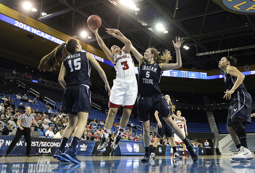 Nebraska's Hailie Sample (3) is defended by BYU's Jennifer Hamson (5) as BYU's Kylie Maeda (15) watches during the second half of a second-round game in the NCAA women's college basketball tournament on Monday, March 24, 2014, in Los Angeles. BYU won 80-76. (AP Photo/Jae C. Hong)