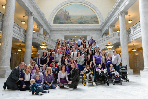 Franciso Kjolseth     The Salt Lake Tribune Members of Hope 4 Children with Epilepsy along with families who have been affected by the disease gather for a group photograph at the Utah Capitol Tuesday, March 25, 2014. Gov. Gary R. Herbert signed a ceremonial version of HB105 to legalize the use of nonintoxicating cannabis oil by Utahns with untreatable epilepsy. Catrina and Jeff Nelson appear at the bottom center. The bill was named in honor of their daughter, Charlee, who lost a battle with Late Infant Batten Disease earlier this year.