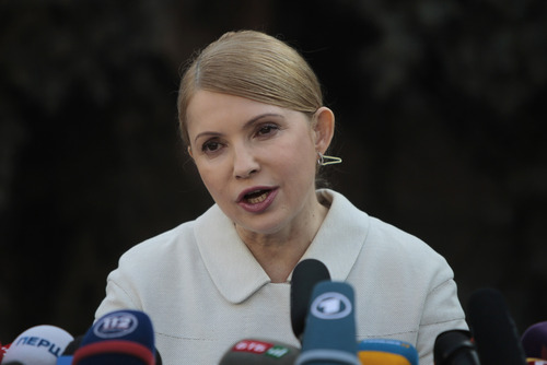 Former Ukrainian Prime Minister Yulia Tymoshenko, speaks during press conference in Kiev, Ukraine, Thursday, March 27, 2014. Tymoshenko has announced on Thursday she will run for presidential elections set for May 25. Tymoshenko, who was released from jail last month following the overthrow of President Viktor Yanukovcyh, said Thursday that she has earned the moral right to say she will combat corruption. (AP Photo/Sergei Chuzavkov)