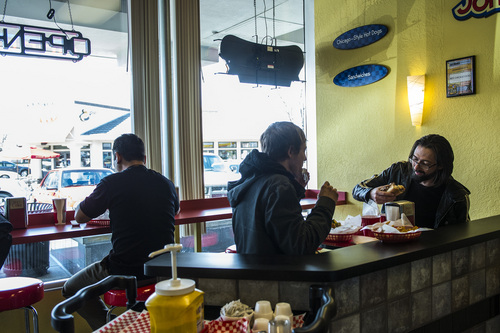 Chris Detrick  |  The Salt Lake Tribune James Perry and Keith Michelson eat at Johnniebeefs in Cottonwood Heights.