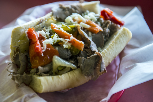 Chris Detrick  |  The Salt Lake Tribune The Italian Beef Sandwich ($6.99) with seasoned roast beef on a French roll and sweet peppers and hot giardiniera at Johnniebeefsin Cottonwood Heights.
