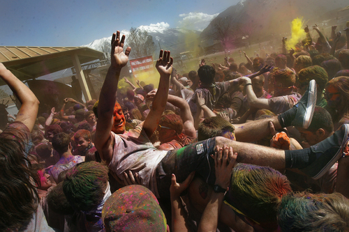 Scott Sommerdorf   |  The Salt Lake Tribune The 2013 Festival of Colors - Holi Celebration - The Krishna Temple in Spanish Fork will celebrate Holi, the announcement of the arrival of spring, Saturday, March 30, 2013.