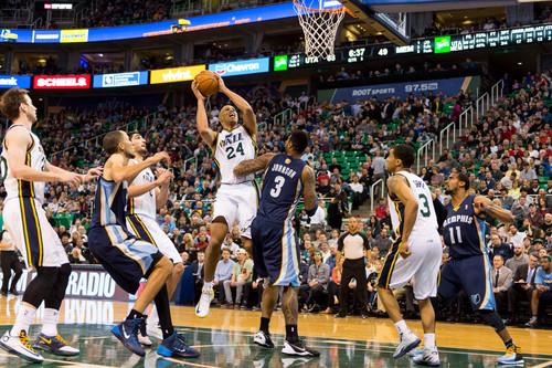 Trent Nelson  |  The Salt Lake Tribune Utah Jazz forward Richard Jefferson (24) shoots as the Utah Jazz face the Memphis Grizzlies, NBA basketball at EnergySolutions Arena in Salt Lake City, Wednesday, March 26, 2014.