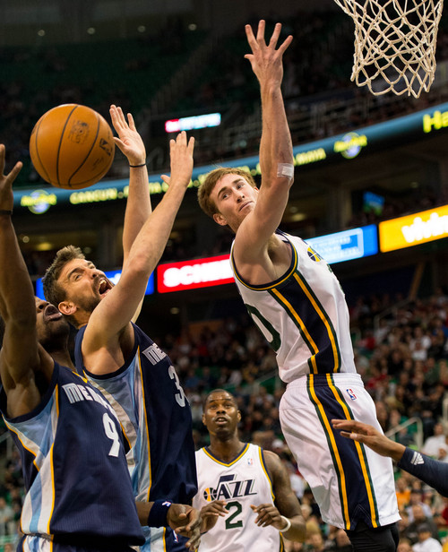 Trent Nelson  |  The Salt Lake Tribune Memphis Grizzlies guard Tony Allen (9), Memphis Grizzlies center Marc Gasol (33) and Utah Jazz guard Gordon Hayward (20) look for the rebound as the Utah Jazz face the Memphis Grizzlies, NBA basketball at EnergySolutions Arena in Salt Lake City, Wednesday, March 26, 2014.