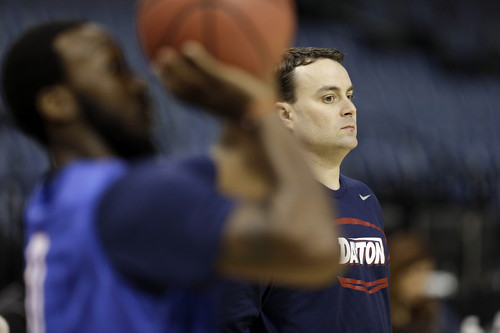 Dayton head coach Archie Miller stands during practice at the NCAA college basketball tournament, Wednesday, March 26, 2014, in Memphis, Tenn. Dayton plays Stanford in a regional semifinal on Thursday. (AP Photo/Mark Humphrey)
