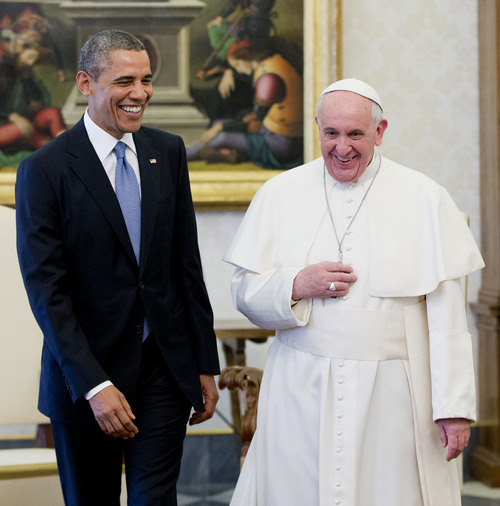 "US President Barack Obama meets with Pope Francis, Thursday, March 27, 2014 at the Vatican. Obama called himself a ""great admirer"" of Pope Francis as he sat down at the Vatican Thursday with the pontiff he considers a kindred spirit on issues of economic inequality. Their historic first meeting comes as Obama's administration and the church remain deeply split on issues of abortion and contraception. (AP Photo/Pablo Martinez Monsivais)"