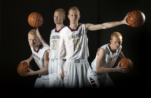 Keith Johnson | The Salt Lake Tribune  A single-frame multiple exposure captures 4 poses of Lone Peak High School's all-state basketball MVP T.J. Haws, March 20, 2014 in Salt Lake City. Haws won 4 Utah state basketball championships during his high school career.