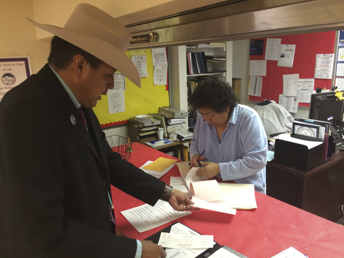 | Courtesy  San Juan County Commissioner Kenneth Maryboy, a 52-year-old Democrat from Bluff, Utah, files his candidacy for president of the Navajo Nation.