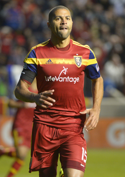 Rick Egan  |  The Salt Lake Tribune  Real Salt Lake forward Alvaro Saboru (15) runs to the sidelines after he scores the first goal of the night for Real Salt Lake, in MLS action, Real Salt Lake vs. Toronto FC, at Rio Tinto Stadium, Saturday, March 29, 2014
