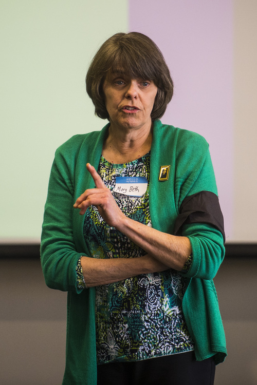Chris Detrick  |  The Salt Lake Tribune Mary Beth Tinker speaks during the Society of Professional Journalists Region 9 conference at the BYU Salt Lake City Center Saturday March 29, 2014. At age 13 in 1965, Tinker and some fellow students took their free expression case all the way to the U.S. Supreme Court after they were prevented from wearing black armbands to school to remember soldiers who died in Vietnam. They won, and the Tinker decision is now the case against which all other student First Amendment cases are judged.