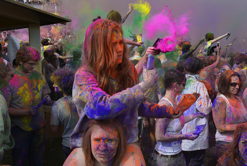 Scott Sommerdorf      The Salt Lake Tribune The Holi festival of colors at the Sri Radha Krishna Temple in Spanish Fork, Saturday, March 29, 2014. Revelers celebrate the arrival of spring on the grounds of the temple.